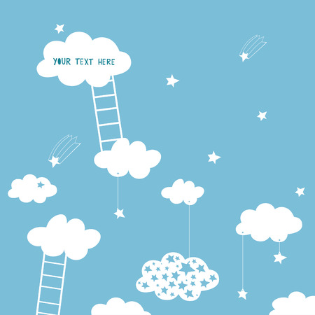 step ladder: clouds and ladder in the seventh heaven Illustration