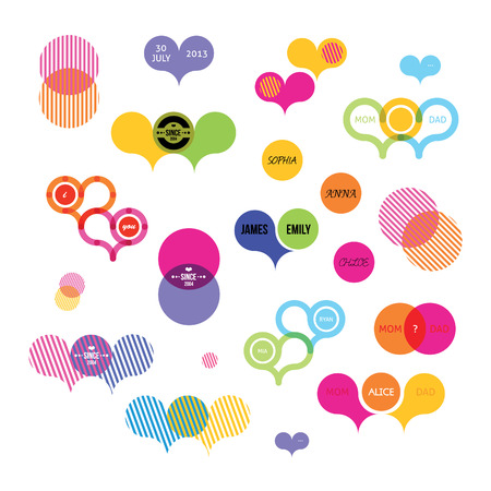 stickers with color illusions Vector