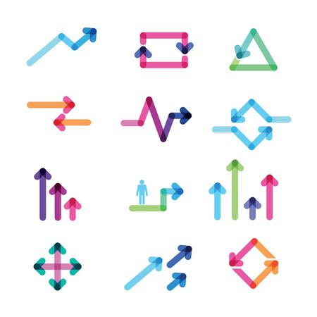 flecha derecha: conjunto de flechas de colores Vectores