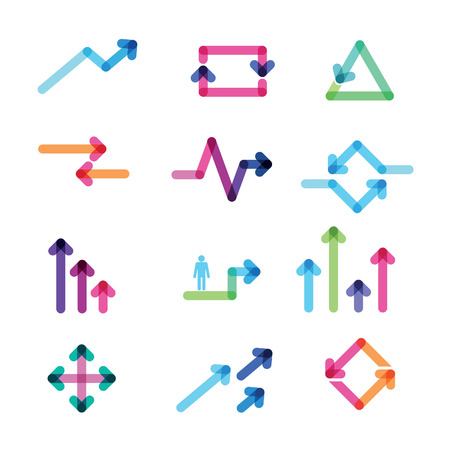 arrow right icon: set of colorful arrows