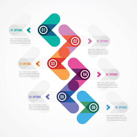six objects: modern design of a template in minimalist style with six options Illustration