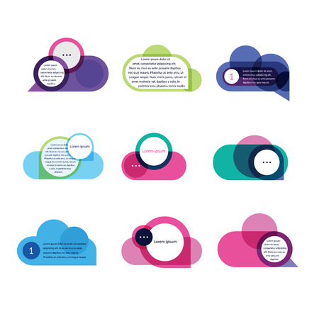 connect the dots: set of colorful speech bubbles Illustration