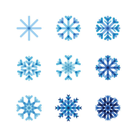 set of snowflakes of blue shades Illustration