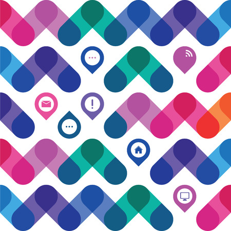 icons for a web design in a colorful geometrical pattern Illustration