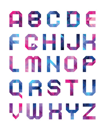 letters of the alphabet: colorful font from triangles