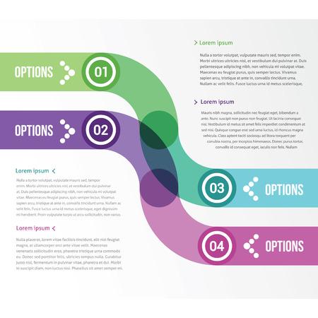 네 가지 옵션을 인포 그래픽을위한 두 개의 부드러운 스트립 일러스트