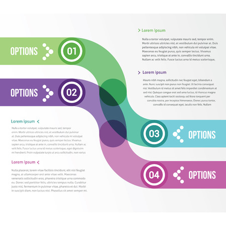 two smooth strips for infographics with four options Illustration