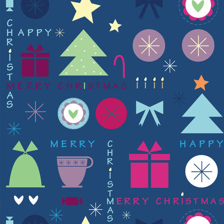 dark blue Christmas seamless pattern with the text Vector