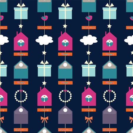 night Christmas garland Vector