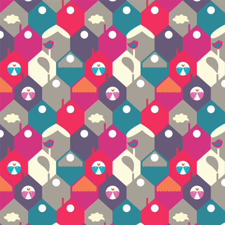 the city from starling houses a seamless pattern Vector