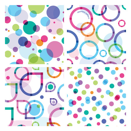 four objects: four bright seamless patterns