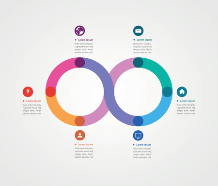 minimalist design: minimalist design of a template with six options