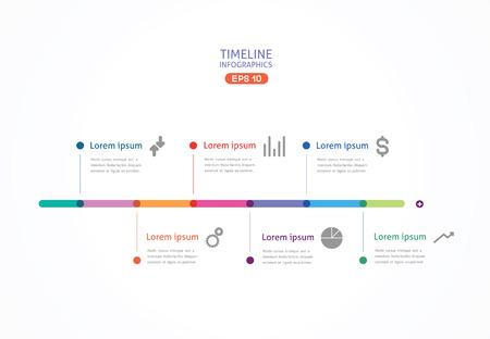 tempo: a linha horizontal, com pontos de cor para apresenta Ilustração