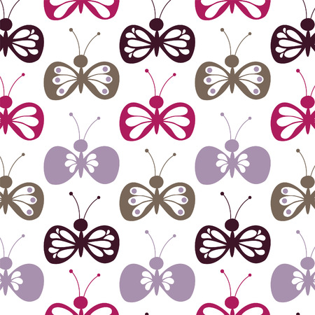 weeds: the seamless pattern weeds butterflies Illustration
