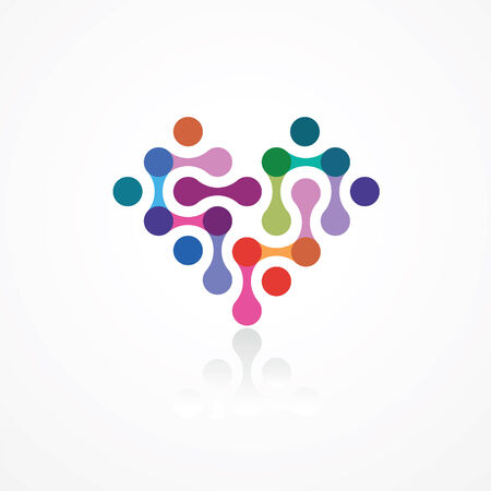 heart from the color connected elements Vector