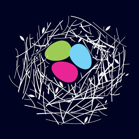 nest with the painted small eggs Vector