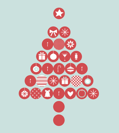red Christmas tree from festive elements Vector