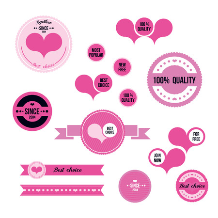 pink ribbons: set of vector stickers and ribbons in pink color