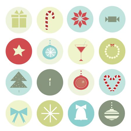 vintage Christmas motives in a circle for scenery Vector