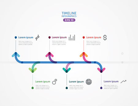 time line: the horizontal line with six arrows