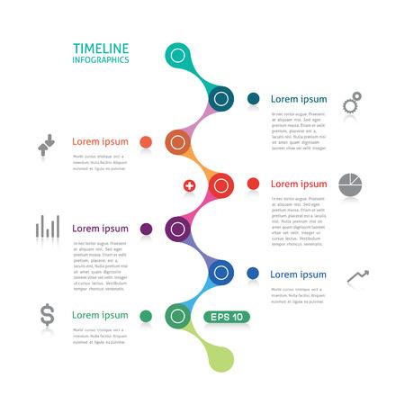 Timeline Infografiken gestrichelte Linie Illustration