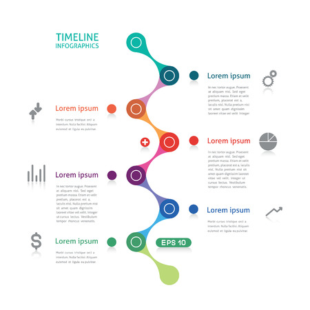 kurve: Timeline Infografiken gestrichelte Linie Illustration