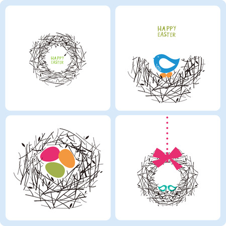 an egg shell: four easter cards on a white background