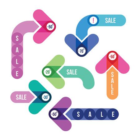 판매 색 화살표의 집합 일러스트