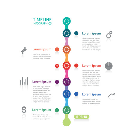 timeline infographics with six points Reklamní fotografie - 26264244