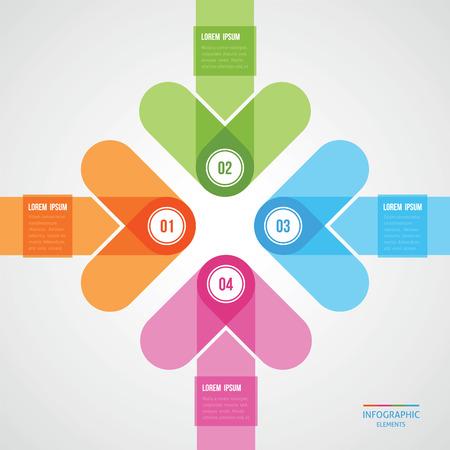 モダンなデザインの中心を指示した 4 つの矢印とテンプレート