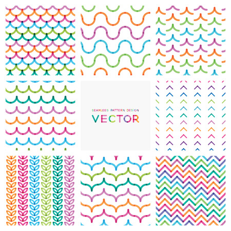 set of colorful seamless patterns