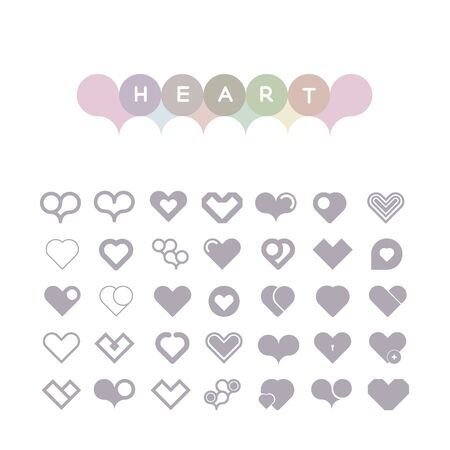 set of hearts of icons in light tones Vector