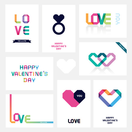st valentine  s day: set of cards by St  Valentine s Day Illustration