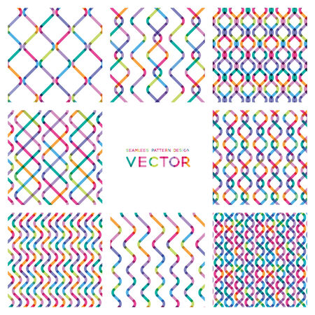 set colorful seamless patterns from smooth lines