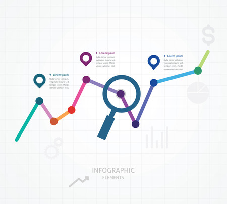 color vector illustration of web analytics information and development website statistic with tex Vector