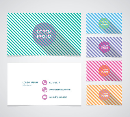 phone number: set of business cards with color illusion