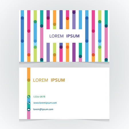 the bright modern business card with the colorful line Illustration