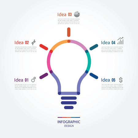 three points: color bulb with five options Illustration