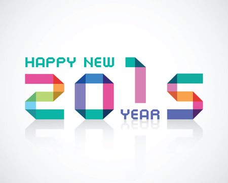 imposing: happy new 2015 year an illustration with color geometry numbers