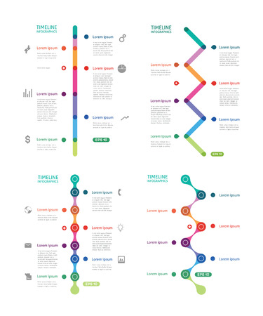 set of colorful time line