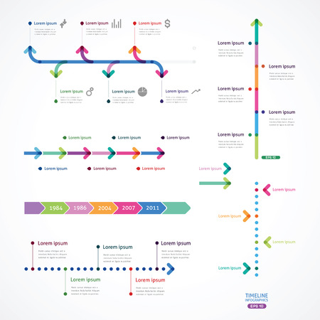 set of time line from color arrows Vectores