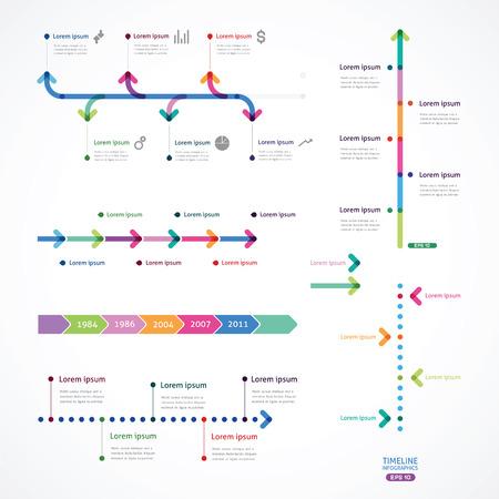 flechas: conjunto de la línea de tiempo de las flechas de color