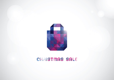 the stylized bag from triangles in cold shades for Christmas sale on a shining background Illustration