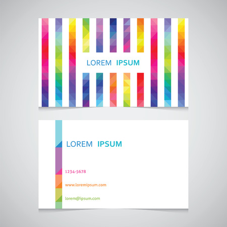business card template from a strip from color triangles