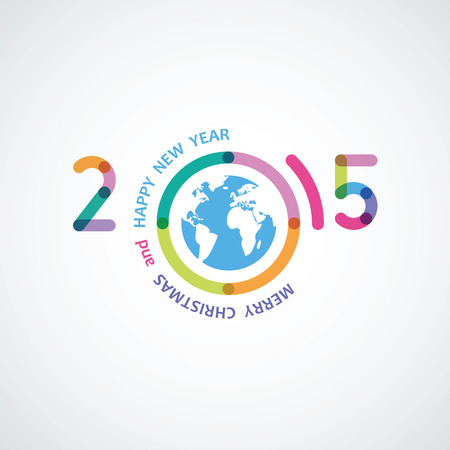 worldwide wish: happy new 2015 an illustration with abstract colorful numbers and the text written on a circle