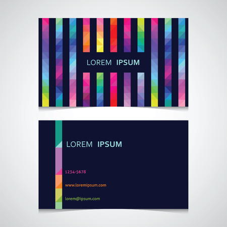 business card template from a strip from color triangles against a dark background Vector