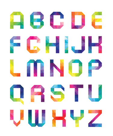 font from triangles with color transitions