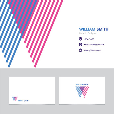 business card template with a letter w Ilustracja