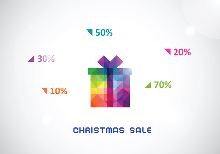 the stylized colorful box from triangles for Christmas sale with text Illustration