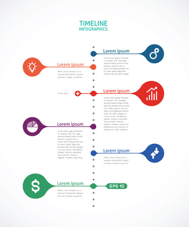 bottom line: timeline infographics with points Illustration
